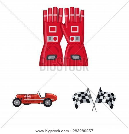 Vector Design Of Car And Rally Symbol. Set Of Car And Race Stock Vector Illustration.