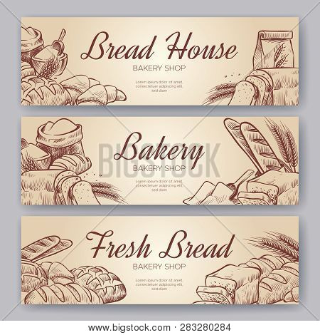 Bakery Banners. Hand Drawn Cooking Bread Bakery Bagel Breads Pastry Rye Bake Baking Pumpernickel Cul