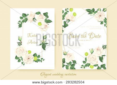 Wedding Invitation With Roses Bouquet, Cards Templates For Marriage. Vintage Flower Composition, Gre
