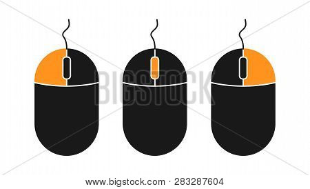 Flat Pc Mouse Icon Isolated On White Background. Pc Tool Vector