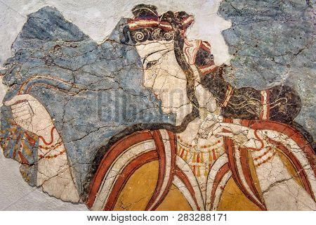 Ancient Greek Fresco Of Woman. Remains Of The Culture Of Ancient Civilization In Greece. Beautiful A
