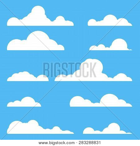 Flat Style Realistic Clouds Silhouette. White Cluds Set. Cartoon Style Number Of Clouds.