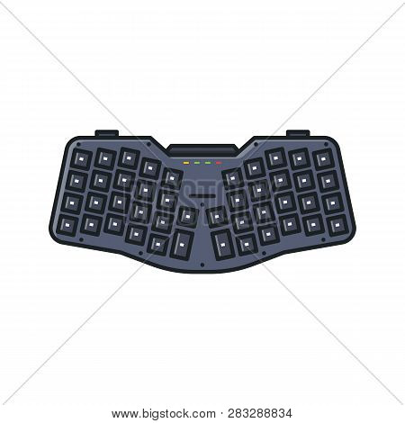 Modern Ergonomic Keyboard. Custom Small Portable Keyboard With Angled Key Rows For Natural Hand Typi