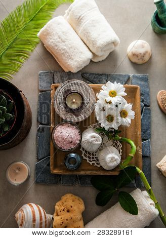 Spa And Wellness. Spa Products In Natural Setting Overhead Flatlay Of Spa Treatment