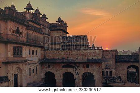 Jahangir Mahal, inside Orchha Fort. Orchha, Madhya Pradesh, India.