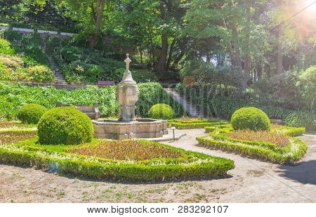 Porto, Portugal - June 16, 2018:  Fountain In The Cristal Palace Gardens Or Jardins Do Palaio De Cri