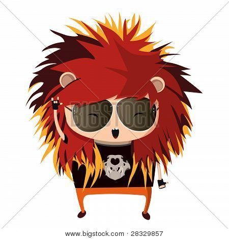 A child dressed up like a sign of zodiac. Leo.