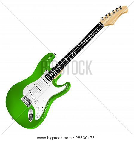 Green Electric Guitar, Classic. Realistic 3d Image. Vector Detailed Illustration Isolated On A White