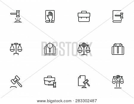 Law Line Icon Set. Set Of Line Icons On White Background. Judgement, Portfolio, Bag. Federal Service
