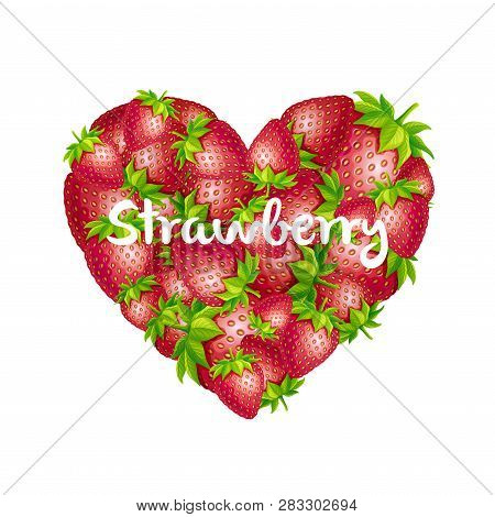 Strawberry Heart. Vector Strawberry Heart Isolated On White Background.