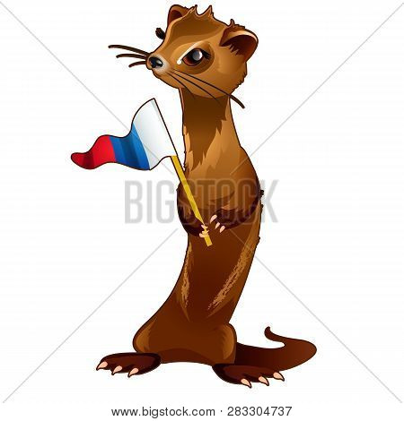 Fur Forest Animal Holding A Flag In The Paws In The Style Of The Russian Flag Of The Tricolour Isola