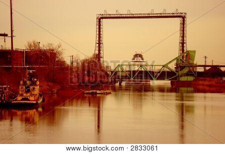 Dawn At Railroad Bridge,With Ship