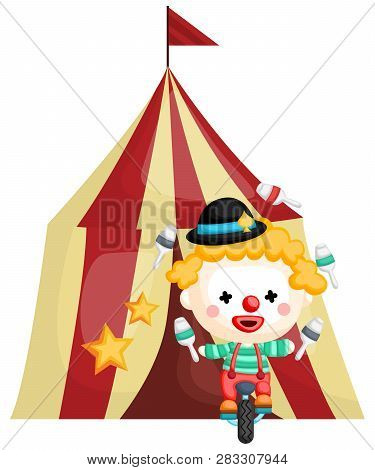 A Vector Of Clown In Front Of A Circus Tent