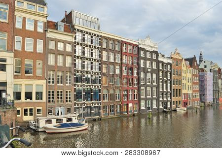 Netherlands. Beautiful Buildings In The Old Town Of Amsterdam