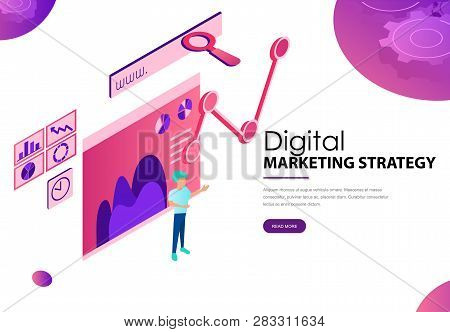 Digital Marketing Strategy Landing Webpage Template With Diagram
