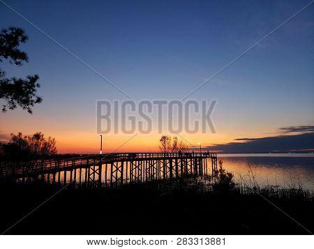 Mobile Bay Sunset From Daphne, Alabama; Bayfront Park, February 2019