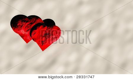 stone hearts on snow