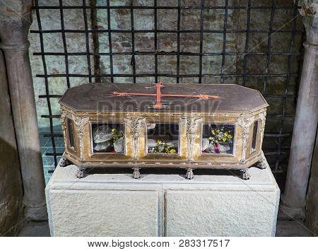 A Reliquary Containing The Bones Of San Secondo. Saint Secondo Catholic Church Collegiate. Asti, Pie