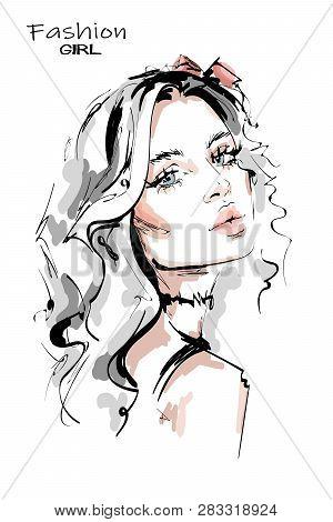 Hand Drawn Stylish Beautiful Young Woman With Long Blonde Hair. Beautiful Girl. Fashion Look. Woman