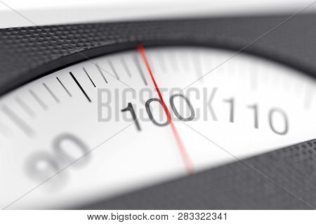 Mechanical Bathroom Weight Scales Dial With Nimbers, Close Up. 3d Illustration