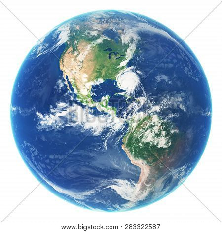 Earth Globe Isolated On White Background. Elements Of This Image Furnished By Nasa