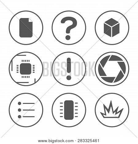 Pcb Development Icons Set. Microcircuit, Documentation, Testing, And Photo Outline Icons