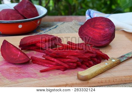 Chopped Beetroot. Beet Stick Slice On Cutting Board. Preparing For Cooking. Raw. Healthy Food.