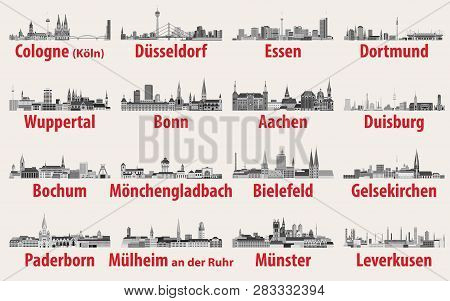 Vector Illustration Of Germany State North Rhine-westphalia Largest Cities Skylines Icons In Black A