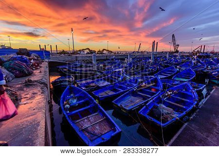 Essaouira, Morocco - December 11, 2018: Sightseeing Of Morocco. Beautiful Sunrise In Essaouira Port.