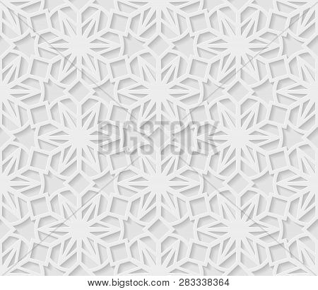Seamless Arabic Geometric  Pattern, 3d White Pattern, Indian Ornament,  Vector. Endless Texture Can