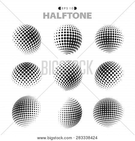 Abstract Modern Halftone Dots Pattern Black And White. Decorating In Circle Set Of Isolated Circle R