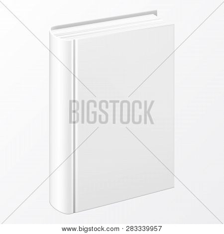 Realistic White Book With A Blank Cover. Mock Up Of Rotated Book. Vertical Closed Book Mockup Isolat