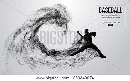 Abstract Silhouette Of A Baseball Player Pitcher On White Background From Particles, Smoke. Baseball