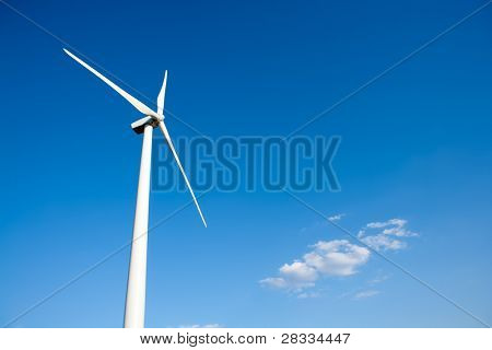 aerogenerator windmill in blue sky background