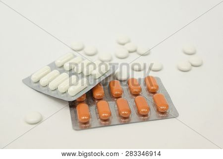 Chewable Antacid Tablets In Transparent Blister Pack Isolate On White Background. Medicines Use In G