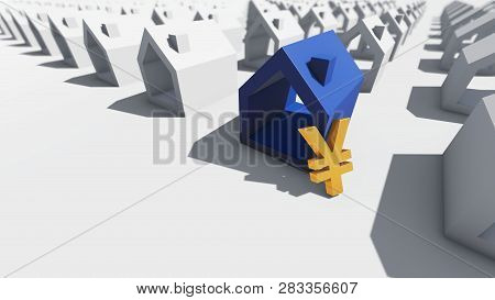 Blue House With Yen Currency, 3d Rendering