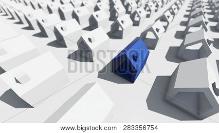 Blue House On The White Background, 3d Rendering