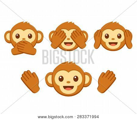 Cute Cartoon Monkey Face Emoji Icon Set. Three Wise Monkeys With Hands Covering Eyes, Ears And Mouth
