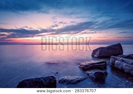 Dramatic Coastal Sunset. Blue Hour On Lake Michigan At Peninsula State Park, Door County, Wisconsin