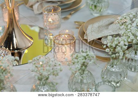 Table set for an event party or wedding reception, luxury elegant table setting dinner