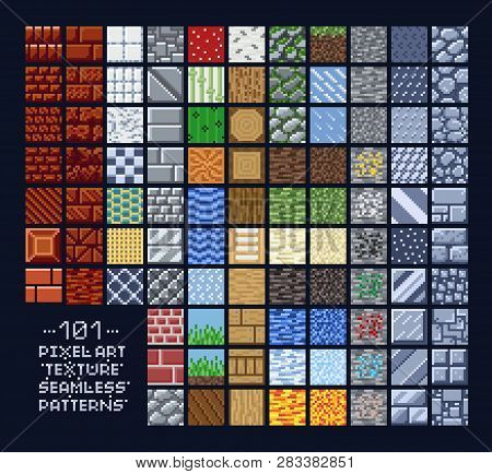 Pixel Art Style Set Of Different 16x16 Texture Pattern Sprites - Stone, Wood, Brick, Dirt, Metal - 8