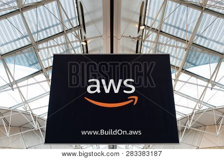 Cdg Airport, Paris - 12/22/18: Aws Amazon Cloud Services Brand Logo At Charles De Gaule Paris Airpor
