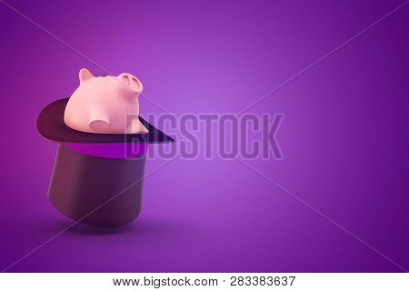 3d Rendering Of A Black Tophat Upside Down With A Cute Piggy Bank Sitting Inside On A Purple Backgro