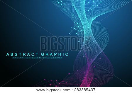 Geometric Abstract Background With Connected Line And Dots. Network And Connection Background For Yo