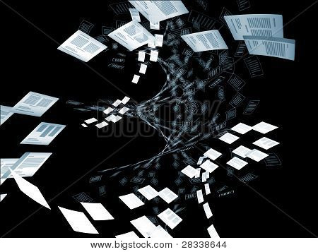 Abstract interplay of document icons in three dimensional space on the subject of document processing and office work poster