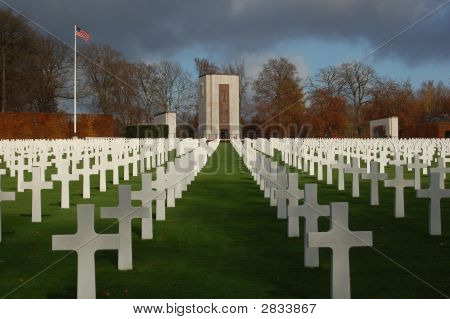 Monument And Crosses In Luxembourg American Military Cemetery