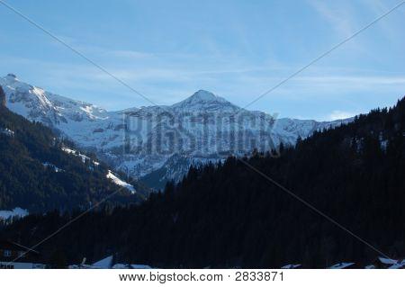 Wildstrubel Mountain Range In Lenk In Winter