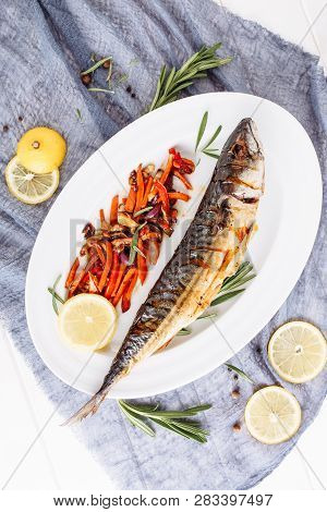 Cooked Fried Mackerel Scomber Fish Flat Lay