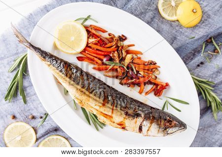 Grill Fried Mackerel Scomber Fish Top Flat Lay