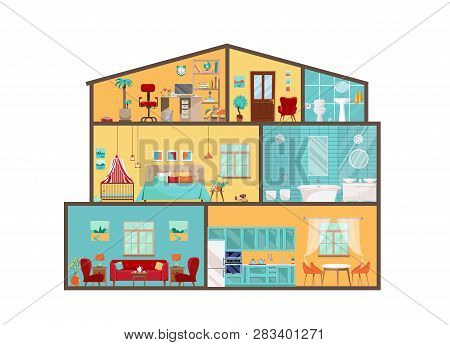 House Model From Inside. Detailed Interiors With Furniture And Decor In Flat Vector Style. Big House